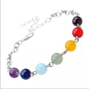 7 Chakra Silver Colored Alloy Adjustable Bracelet
